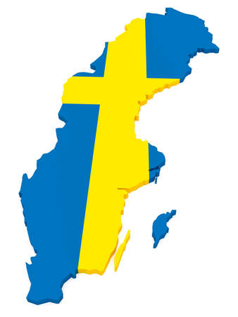3d Illustration of Sweden Map With Swedish Flag Isolated On White Background