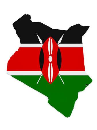 3d Illustration of Kenya Map With Kenyan Flag Isolated On White Background