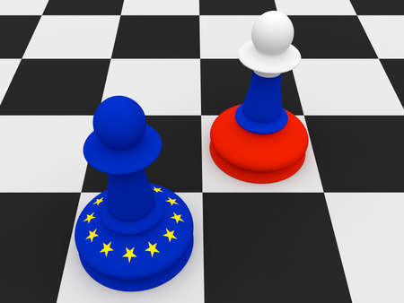 disagree: Conflict Between Russia And EU: Russian and EU Flag Chess Pawns, 3d illustration