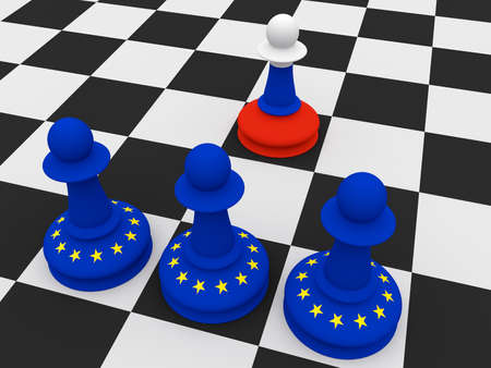 dissent: Conflict Between Russia And EU: One Russian and Three EU Flag Chess Pawns, 3d illustration
