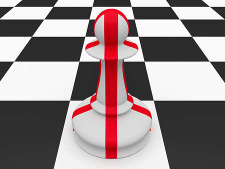 england politics: England Red And White Flag Chess Pawn, 3d illustration