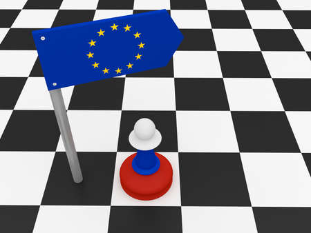 dissent: Russia And EU: EU Flag Road Sign And Russian Chess Pawn, 3d illustration