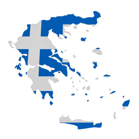 3d Illustration of Greece Map With Greek Flag Isolated On White Background