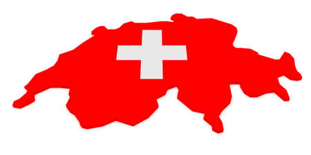 3d Illustration of Switzerland Map With Swiss Flag Isolated On White Background