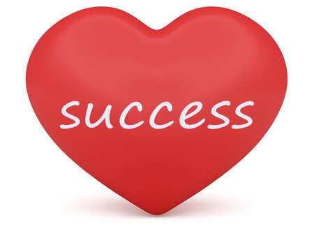 3d heart: Red 3d Heart: Love Success, 3d illustration on white background