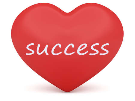 Red 3d Heart: Love Success, 3d illustration on white background