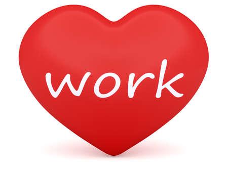 diligence: Red 3d Heart: Love Work, 3d illustration on white background