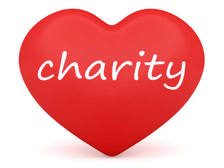 beneficence: Red 3d Heart: Love Charity, 3d illustration on white background Stock Photo