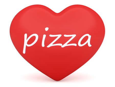 3d heart: Red 3d Heart: Love Pizza, 3d illustration on white background Stock Photo