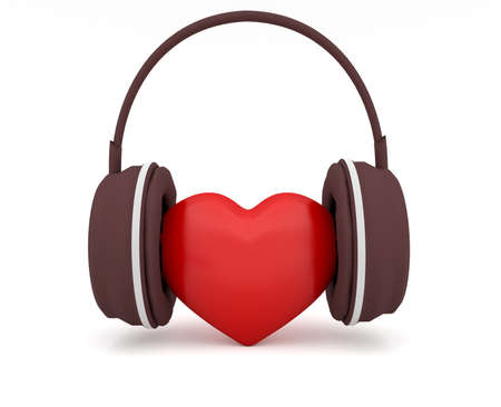 3d heart: Love Music, Red 3d Heart With Headphones, 3d illustration on white background