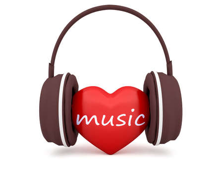 earphone: Love Music, Red 3d Heart With Headphones, 3d illustration on white background