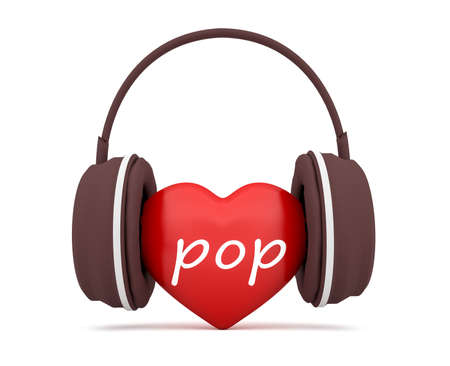3d heart: Love Pop Music, Red 3d Heart With Headphones, 3d illustration on white background Stock Photo
