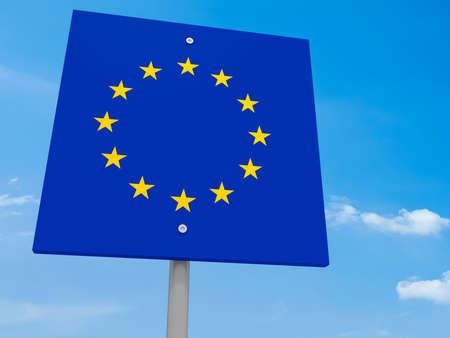 eu: EU Flag Road Sign Against A Cloudy Sky, 3d illustration