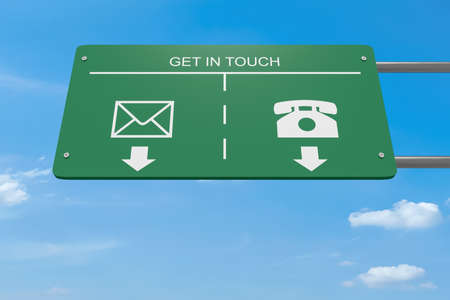 touch: Get In Touch: Contact Icons Letter And Telephone Road Sign, 3d illustration