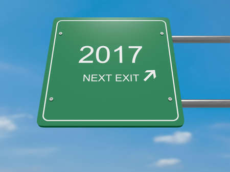 new opportunity: Next Exit: 2017 Road Sign, 3d illustration Stock Photo