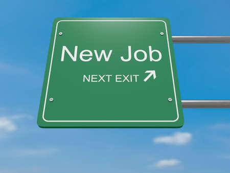 next: Next Exit Business Concept: New Job Road Sign, 3d illustration