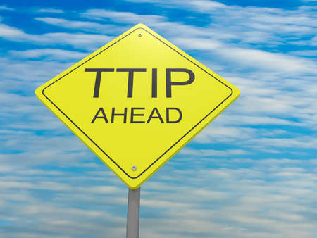 Yellow Road Sign TTIP Ahead Against A Cloudy Sky, 3d illustration