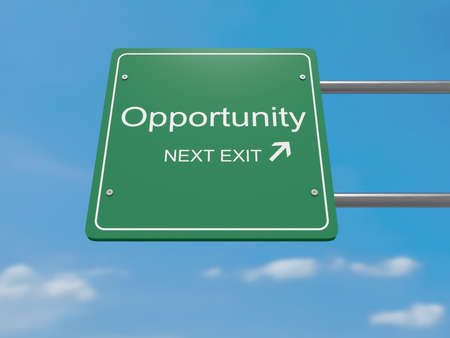 opportunity concept: Next Exit Business Concept: Opportunity Road Sign, 3d illustration Stock Photo
