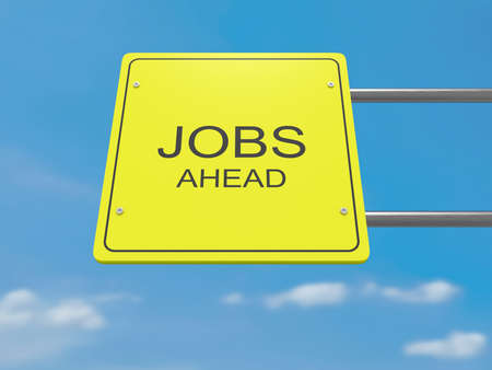 jobless: Yellow Road Sign Jobs Ahead Against A Cloudy Sky, 3d illustration
