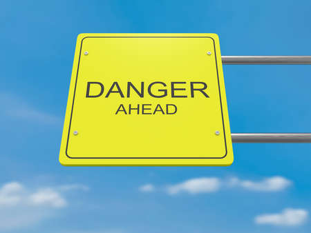 danger ahead: Yellow Road Sign Danger Ahead Against A Cloudy Sky, 3d illustration Stock Photo