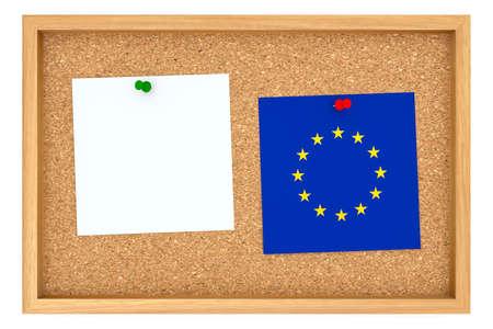 hoja en blanco: Cartelera de corcho con marco de madera con la bandera de la UE y la hoja de papel, ilustración 3d