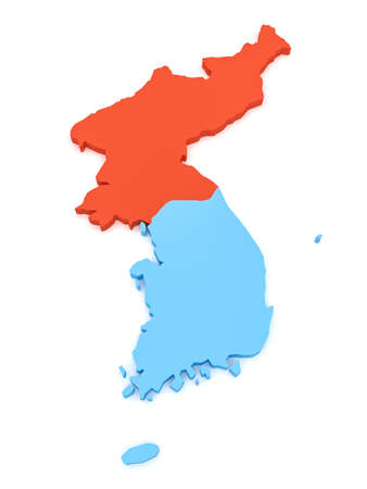 3d Illustration of North Korea And South Korea Map Isolated On White Background