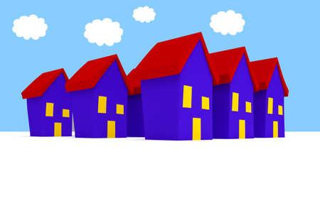 漫画家と青い曇り空、3 d イラストレーションの行 写真素材