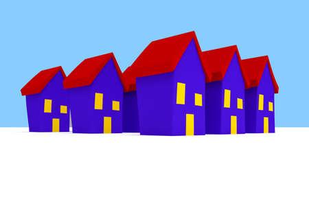 row: Row of Cartoon Houses With Blue Sky, 3d illustration Stock Photo