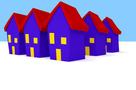 uniformity: Row of Cartoon Houses With Blue Sky, 3d illustration Stock Photo