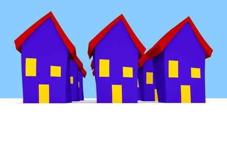 Row of Cartoon Houses With Blue Sky, 3d illustration Stock Photo
