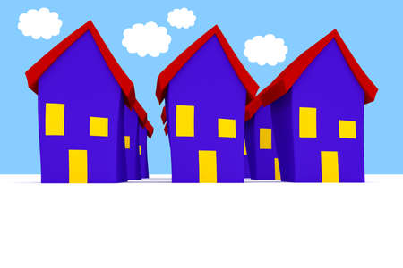 uniformity: Row of Cartoon Houses With Blue Cloudy Sky, 3d illustration
