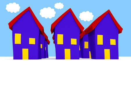 uniformity: Row of Cartoon Houses With Blue Cloudy Sky, 3d illustration