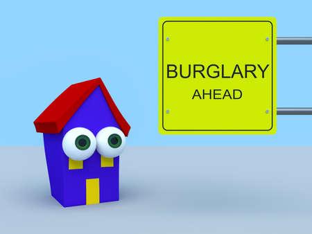danger ahead: Cartoon House With Road Sign Burglary Ahead, 3d illustration
