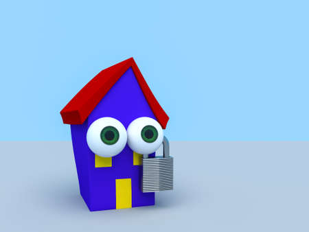 Cartoon House With Padlock With A Blue Sky, 3d illustration Stock Photo