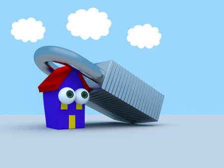 Cartoon House Under A Padlock With A Blue Cloudy Sky, 3d illustration Stock Photo