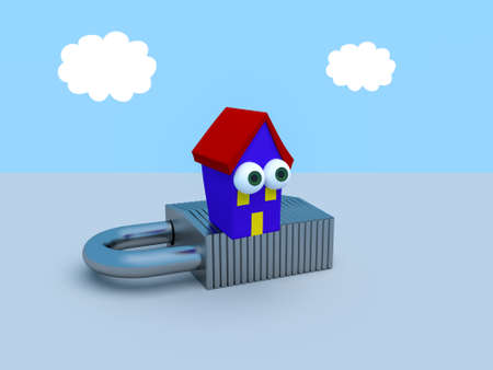 Cartoon House On A Padlock With A Blue Cloudy Sky, 3d illustration