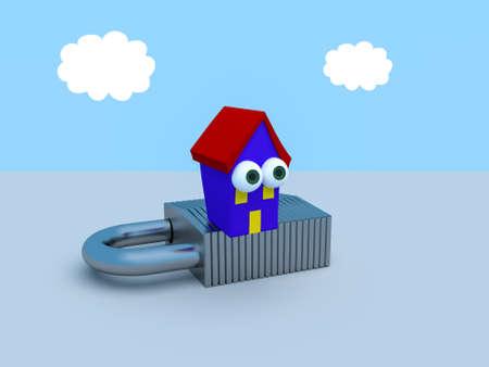 Cartoon House On A Padlock With A Blue Cloudy Sky, 3d illustration