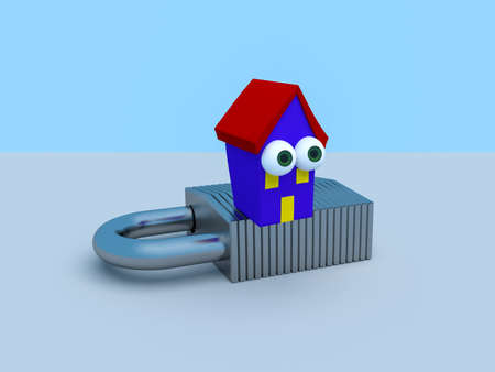 Cartoon House On A Padlock With A Blue Sky, 3d illustration