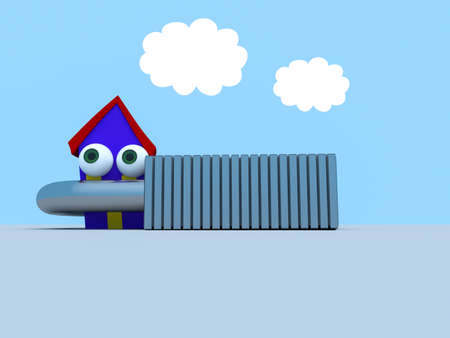 Cartoon House In A Padlock With A Blue Cloudy Sky, 3d illustration