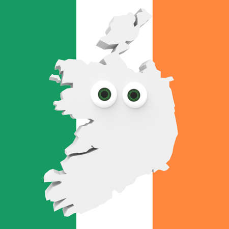irish map: Cartoon Country Map Ireland With Big Eyes Irish Flag In Background, 3d illustration Stock Photo