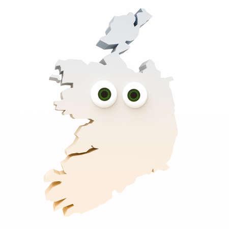 map ireland: Cartoon Country Map Ireland With Big Eyes Isolated On White Background, 3d illustration Stock Photo