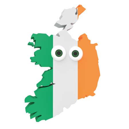 irish map: Cartoon Irish Flag Map Ireland With Big Eyes Isolated On White Background, 3d illustration