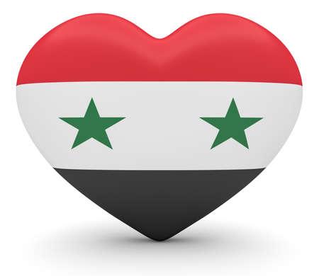 Syria: Love Syria: Syrian Flag Heart, 3d illustration Stock Photo
