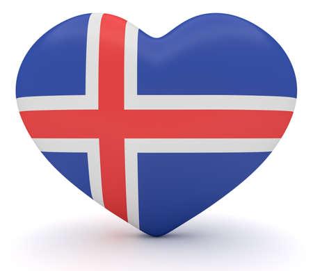 Love Iceland Icelandic Flag Heart 3d Illustration Stock Photo