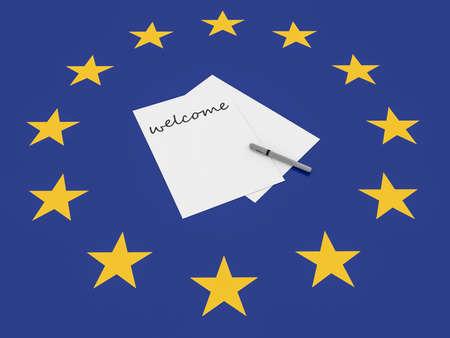 immigrant: European Politics: Welcome Note On EU Flag, 3d illustration Stock Photo