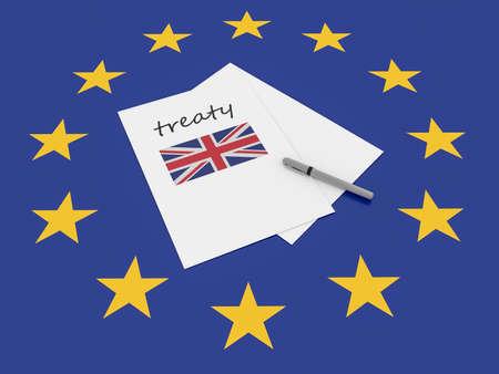 treaty: European Politics: UK Treaty Note On EU Flag, 3d illustration