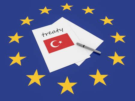 treaty: European Politics: Turkey Treaty Note On EU Flag, 3d illustration