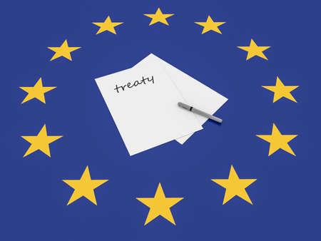 treaty: European Politics: Treaty Note On EU Flag, 3d illustration