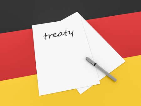 treaty: German Politics: Treaty Note On Germany Flag, 3d illustration