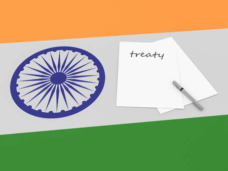 treaty: Indian Politics: Treaty Note On India Flag, 3d illustration Stock Photo